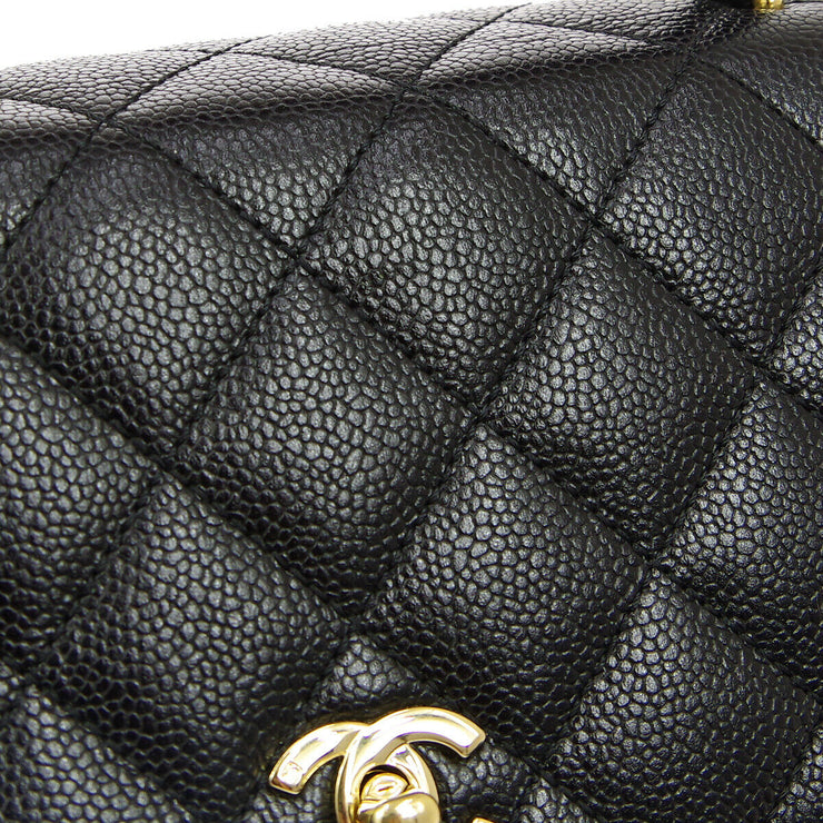 CHANEL Quilted CC Logos Hand Bag 6647270 Black Caviar Skin Leather AK38515e