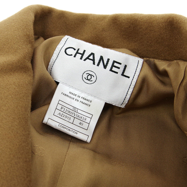 CHANEL CC Long Sleeve Jacket Brown 100% Cashmere #40 Vintage AK31819f
