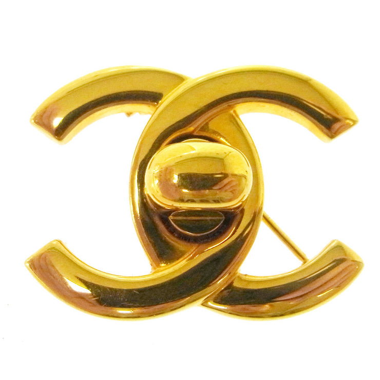 CHANEL Vintage CC Logos Turnlock Brooch Pin Corsage Gold-Tone AK31325h