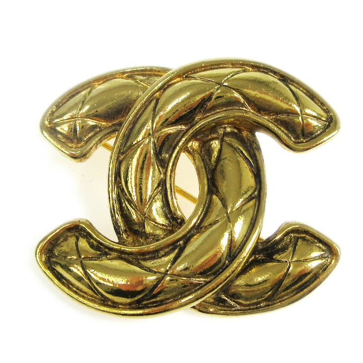 CHANEL CC Logos Quilted Brooch Pin Corsage Gold-Tone 1153 Accessories AK33236h