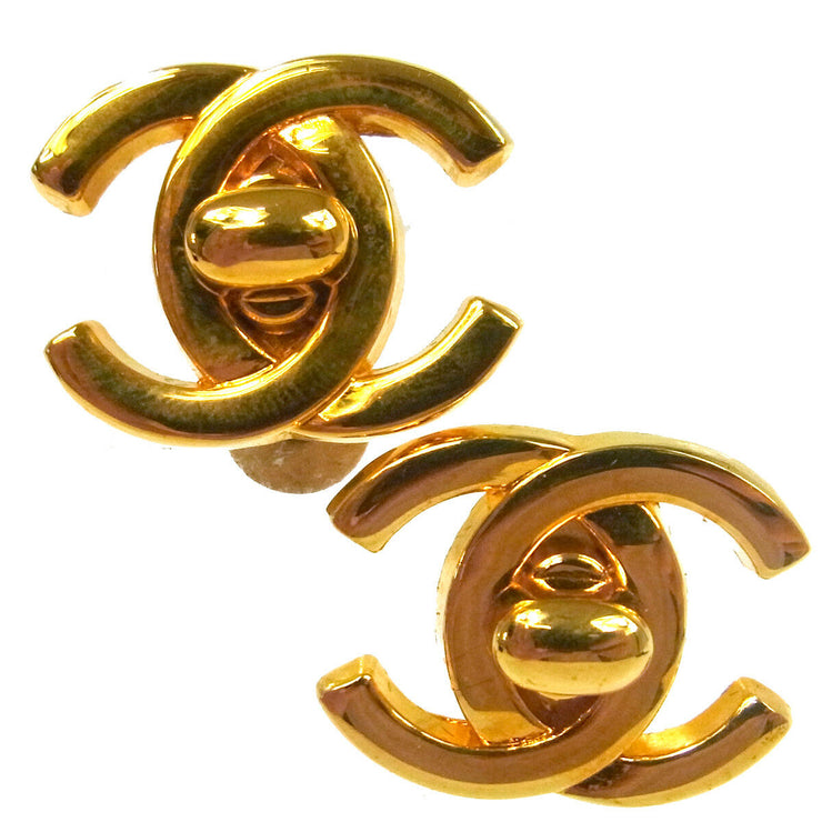 CHANEL Vintage CC Turnlock Earrings 0.8 - 0.6 Clip-On Gold-tone AK35544f