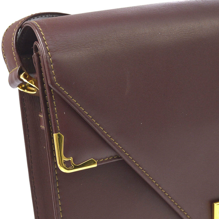 CARTIER Must De Cartier Cross Body Shoulder Bag Bordeaux Leather AK31535g