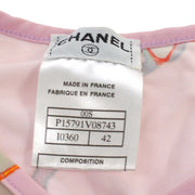 CHANEL CC Logos Short Sleeve Swimwear Swimsuit Pink #42 France AK31634g