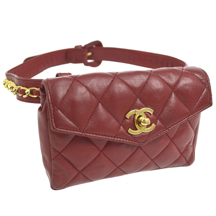 CHANEL Quilted CC Chain Belt Waist Bum Bag Red Leather VTG A41412h