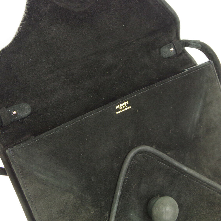 HERMES Logos Shoulder Bag Black Suede Vintage France AK31914g