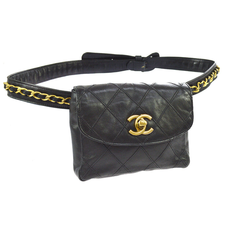 CHANEL Cosmos Quilted CC Chain Bum Bag Waist Pouch Black Leather AK37963h
