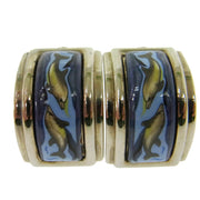 HERMES Vintage Logos Cloisonne Ware Earrings 0.6 - 0.8 Clip-On AK16965f