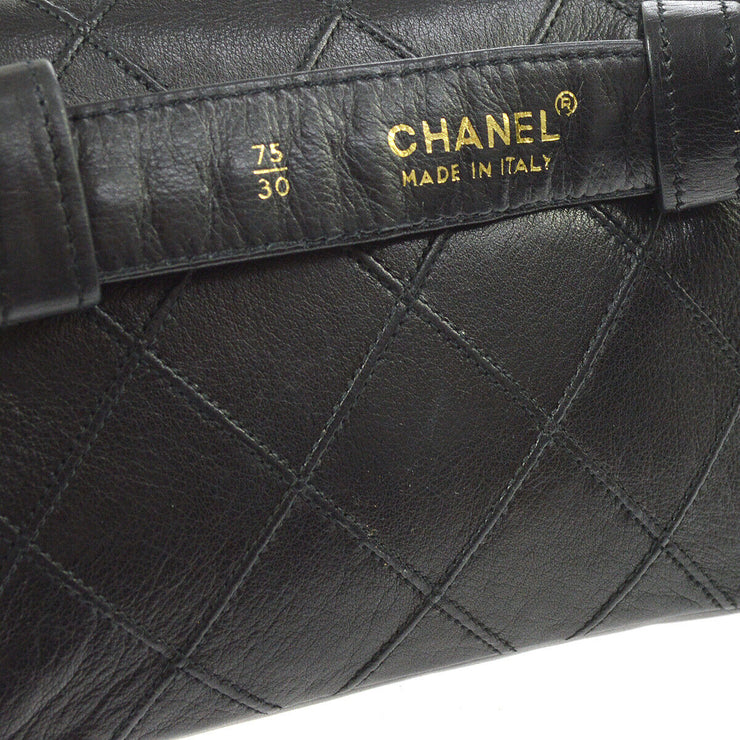 CHANEL Cosmos Quilted CC Chain Bum Bag Waist Pouch Black Leather AK31821i