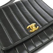 CHANEL Quilted CC Cross Body Shoulder Bag Black Leather GHW AK25866c