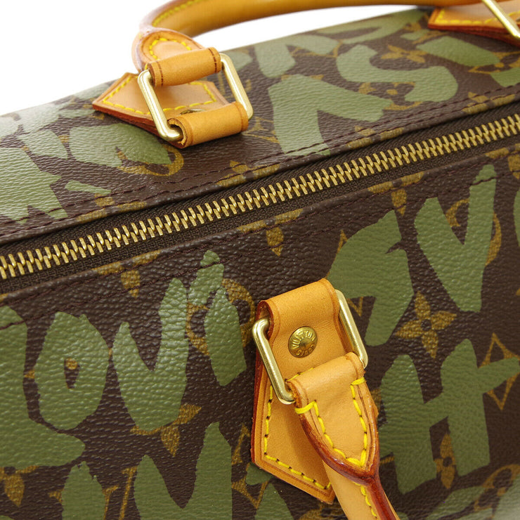 LOUIS VUITTON SPEEDY 30 HAND BAG MONOGRAM GRAFFITI KHAKI M92194 A46598b