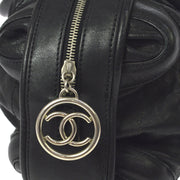 CHANEL Quilted CC Hand Bag Black Leather Vintage AK31525i