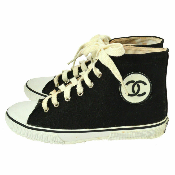 CHANEL Vintage CC Bi-color Sneakers Shoes Black White Canvas AK31945f