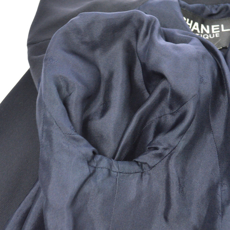 CHANEL Vintage CC Logos Long Sleeve Coat Jacket Navy AK26026c