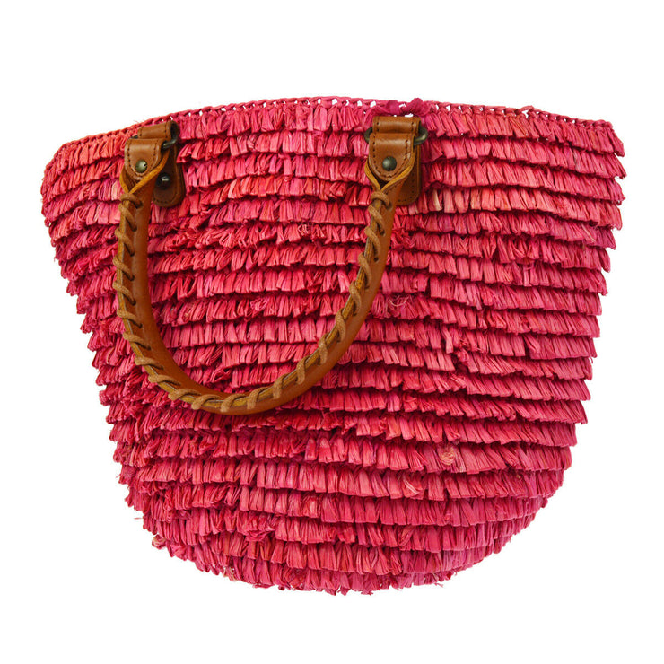 BALENCIAGA Raffia Basket Hand Bag Pink Straw Leather Vintage AK25773k