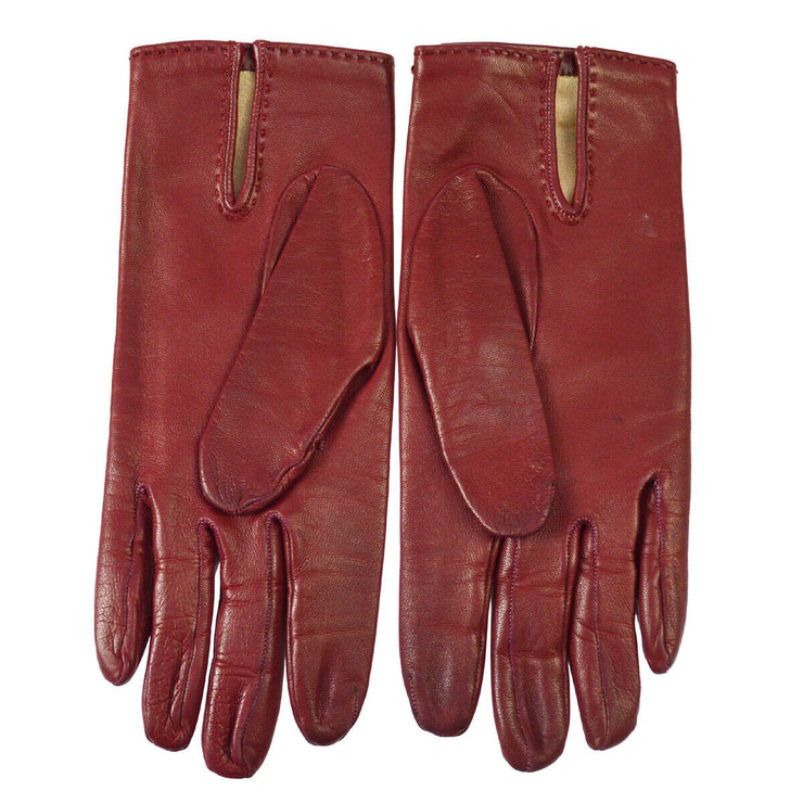 HERMES Cadena Motif Gloves Bordeaux #6 1/2 Lamb Skin France AK17407g