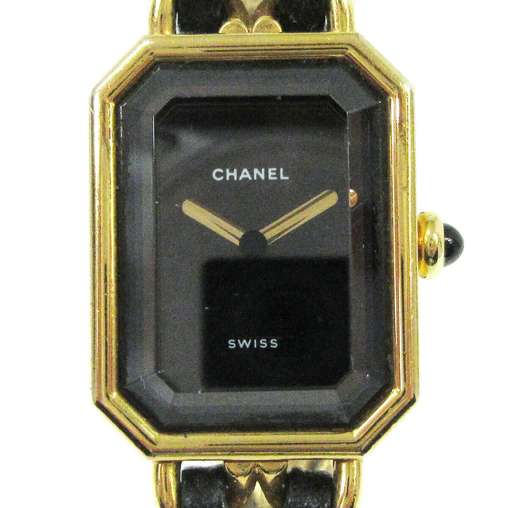 CHANEL Premiere Ladies Wristwatch Quartz Gold Black Leather #M AK37942d