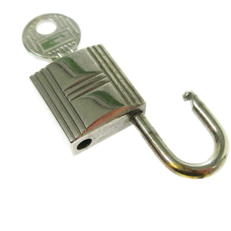 HERMES Set of Padlock & Key Cadena Silver-Tone Bag Accessories Charm AK38492f