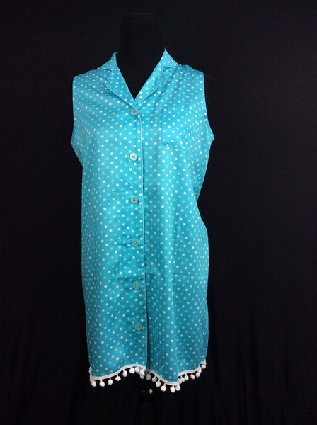 Patty 1960's Nightshirt in Horizon Blue Polka Dot