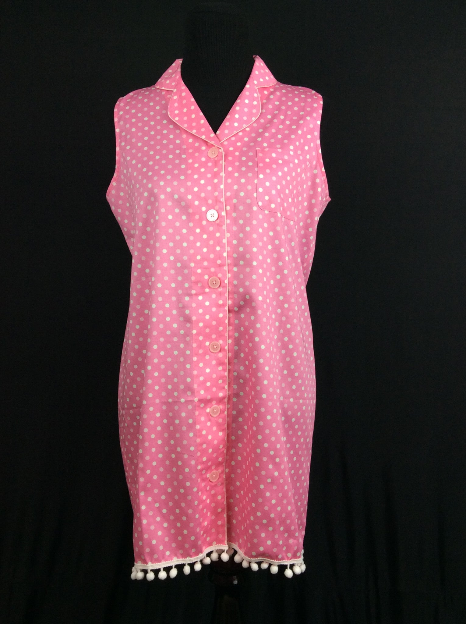 Patty 1960's Nightshirt in Paradise Pink Polka Dot