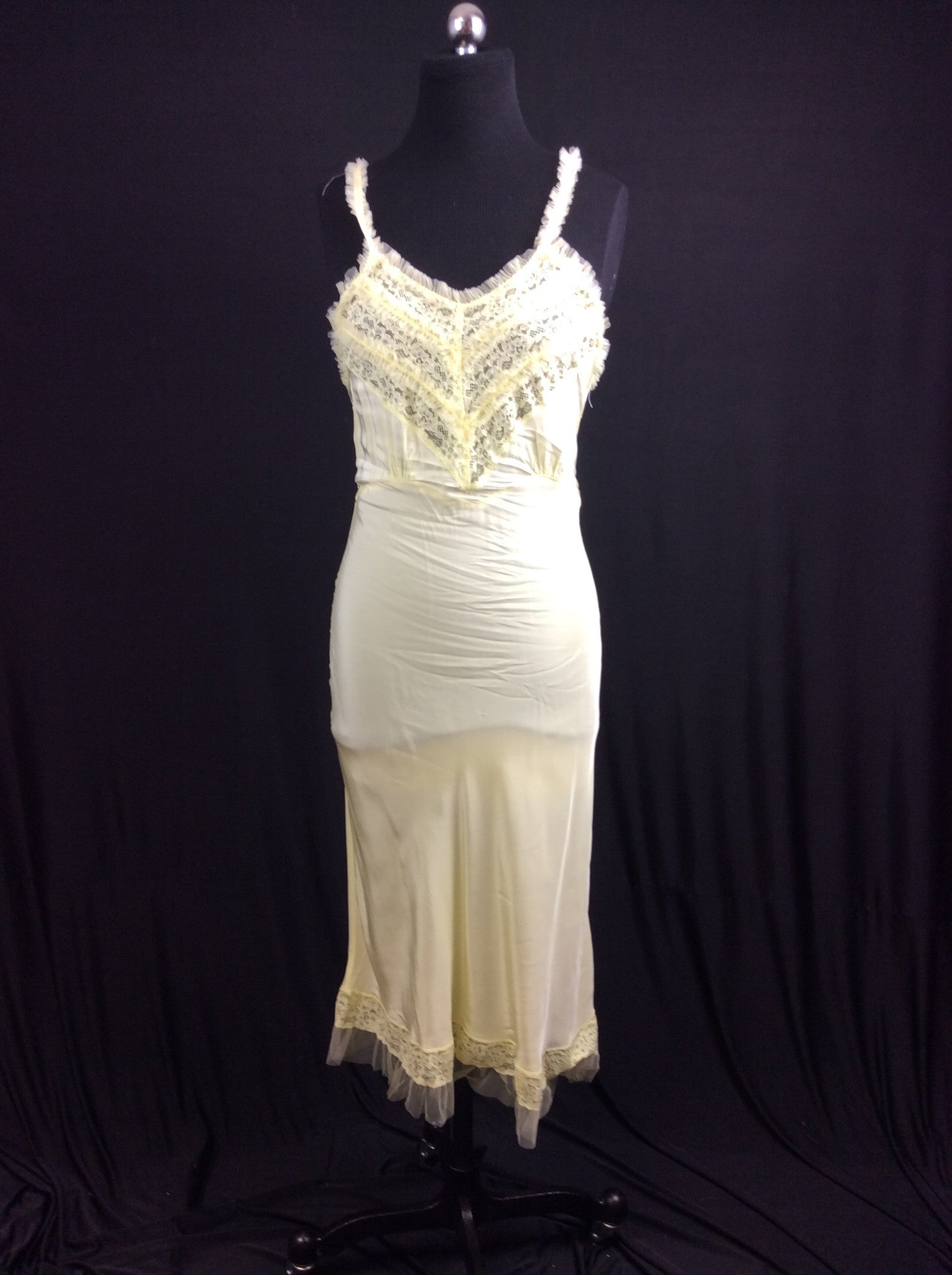 1950's Tulle & Lace Rayon Full Slip