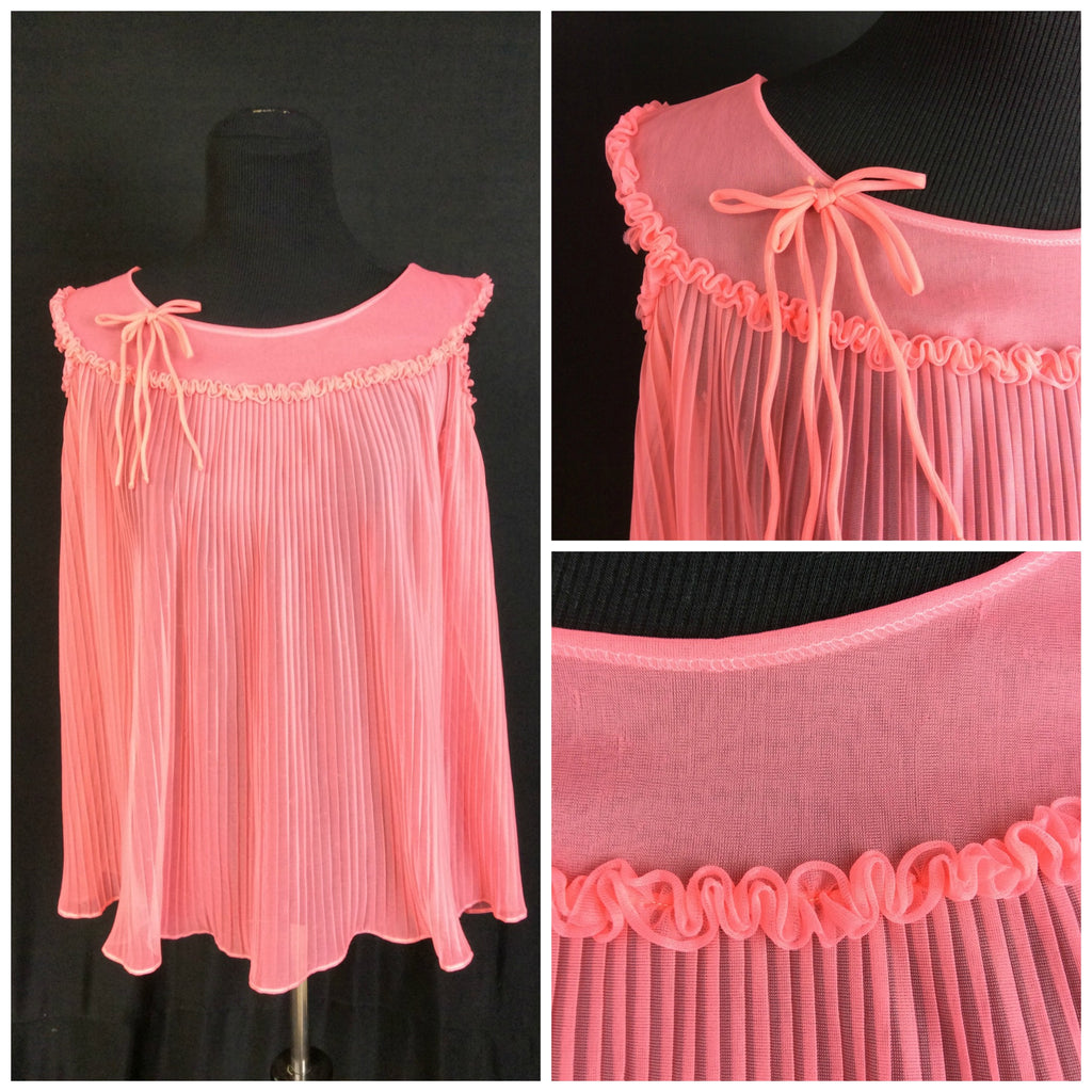 1960's Sheer Coral Babydoll Nighty