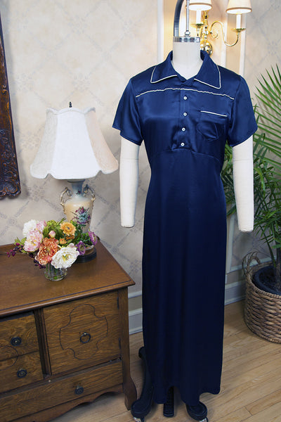 Delphine 1930's Nightgown in Monaco Blue