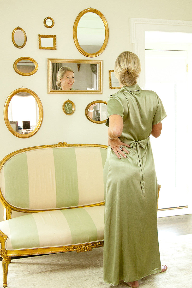Delphine 1930's Nightgown in Smoke Green