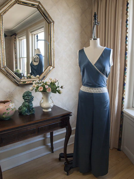 Katharine 1930's Jumpsuit Pajamas in Steel Blue