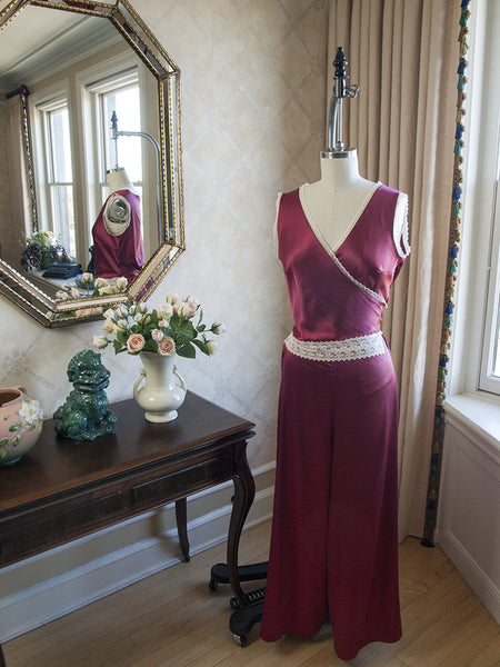 Katharine 1930's  Jumpsuit Pajamas in Burgundy