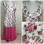 1970's Plus Size Pink Floral Satin and Chiffon Negligee