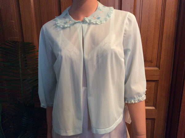 Vintage 1950's Baby Blue Bed Jacket