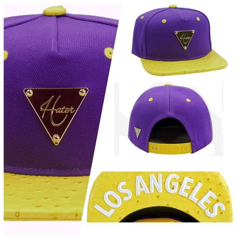 "Purple with Yellow Ostrich Brim snapback ""Los Angeles"""