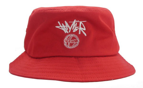 Cursive Logo Bucket Hat- Red