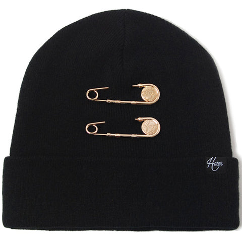 Gold Pin Beanie - Black