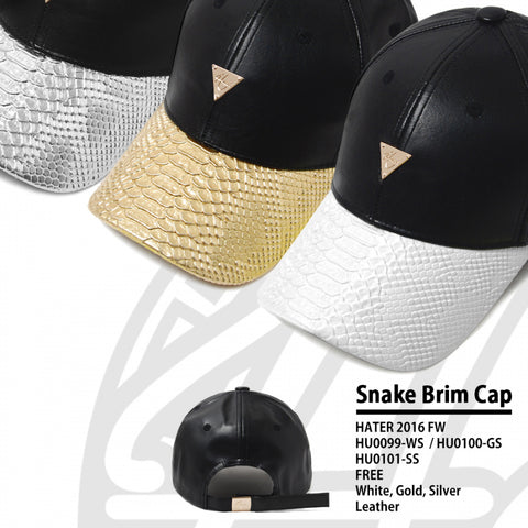 Leather with Snakeskin Brim Unstructured  - Black/Gold