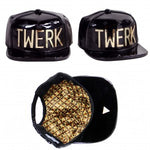 TWERK Lettered Snapback - Metallic Black