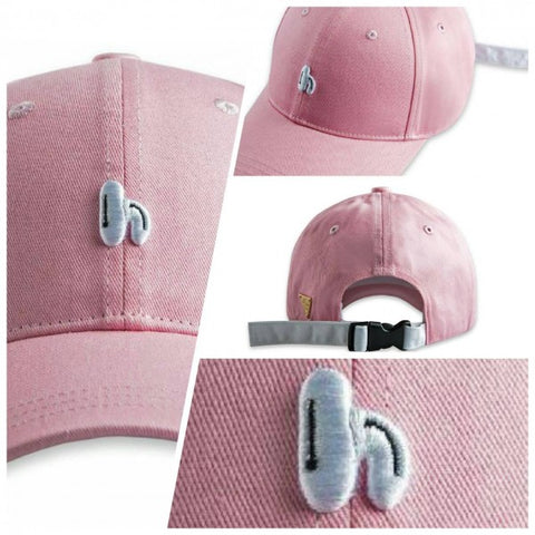 "HATER ""h"" Embroidery Cap- Pink ( Plastic Buckle)"
