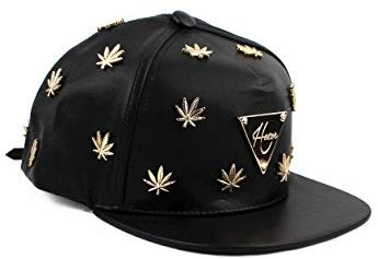 Gold Cannabis Studded Leather Strapback