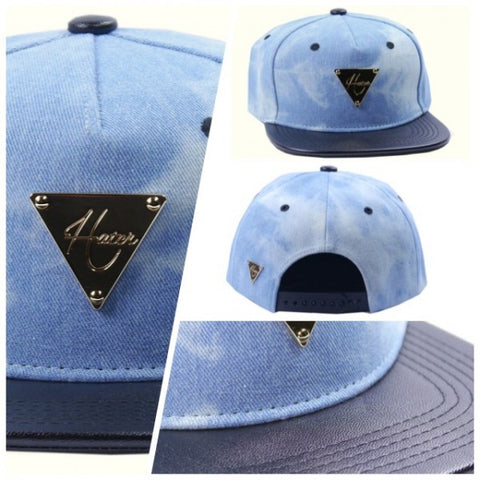 Denim Washed with Leather Brim - Black
