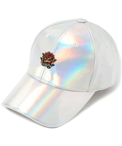 Rose Embroidery Cap- Shiny Holographic ( Structured)