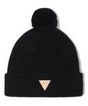 Rabbit Fur Pom Beanie - Black