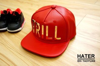 Trill Leather Snapback - Red