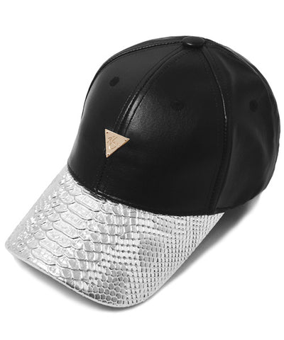 Leather with Snakeskin Brim Unstructured  - Black/Silver