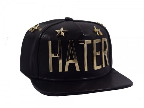 HATER 5 Star Metal Lettered Leather Snapback - Black