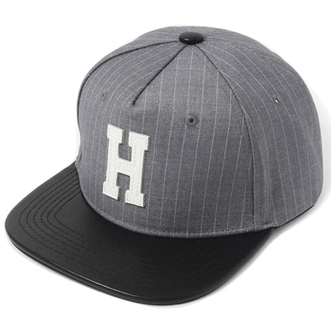 Varsity Pinstripe with Leather Patch Snapback - Grey