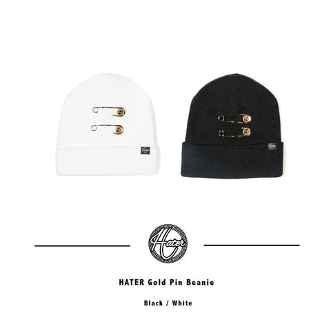 Gold Pin Beanie - White
