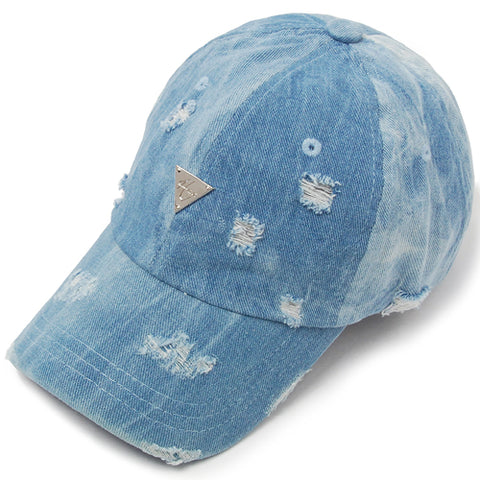 Unstructured Distressed Strapback - Denim