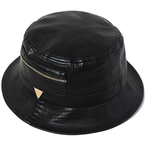 Leather Zippered Bucket Hat - Black