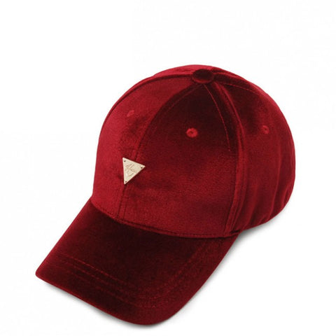 Unstructured Velvet Strapback - Burgundy