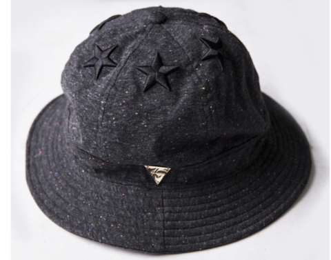 6 Star Multi Colored Paint Splatter Bucket Hat - Dark Grey